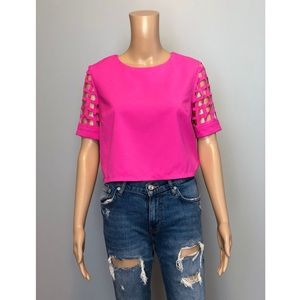 Mustard Seed pink cage sleeve blouse top